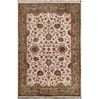 ABC Accent Floral Hand-knotted Ivory Wool Rug (12' x 18')