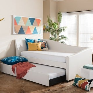 Baxton Studio Zoe Modern and Contemporary White Faux Leather Upholstered Curved Sofa Twin Daybed with Roll-out Trundle Guest Bed