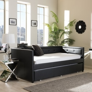 Baxton Studio Faux Leather Button Tufted Daybed with Trundle