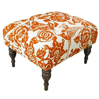 Skyline Furniture Canary Tangerine Tufted Ottoman