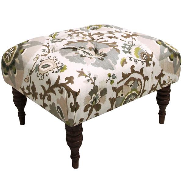 Skyline Furniture Silsila Rhinestone Tufted Ottoman Free