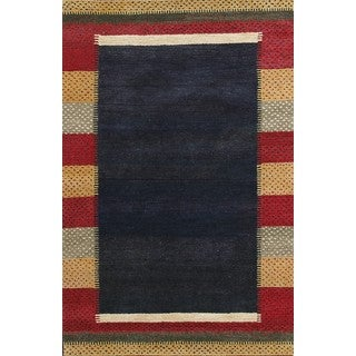 ABC Accent Stylish and Colorful Bordered Wool Rug (3' x 3')