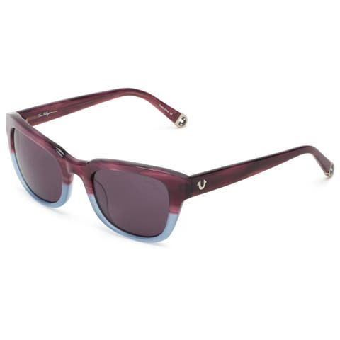 True Religion Heather Rectangular Purple and Blue Crystal Sunglasses - M