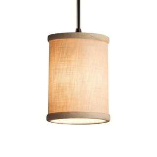 Justice Design Group Textile Mini Bronze Pendant, Cream Shade