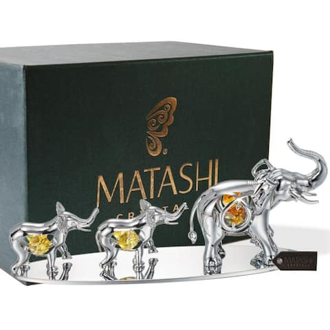 Silverplated Enamel Family of Elephants Figurines Made with Orange Genuine Matashi Crystals