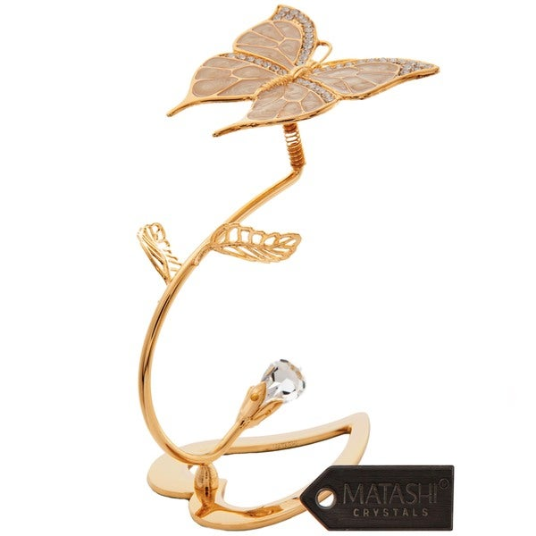 Beautifully Crafted Butterfly Table Top Ornament Dipped in 24k Gold Plating Made with Genuine Matashi Crystals