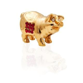 24k Goldplated Jewelled Chinese Horoscope Year of The Pig Made with Genuine Matashi Crystals