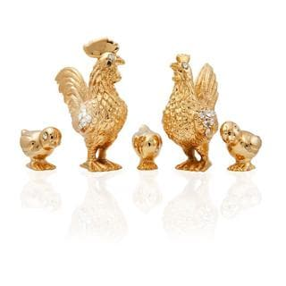 24k Goldplated Family of Roosters Figurines Made with Genuine Matashi Crystals