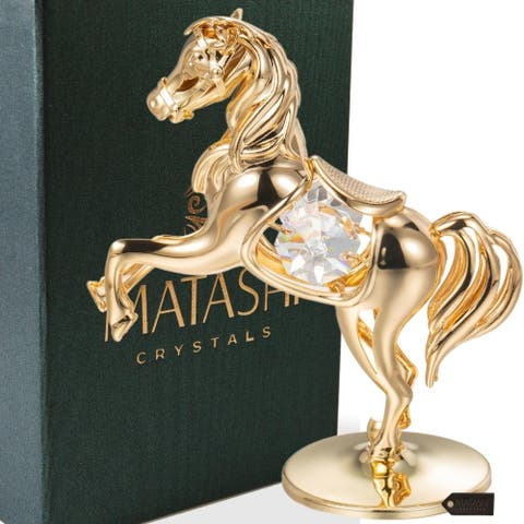 24k Goldplated Elegant Horse On a Pedestal Made with Genuine Matashi Crystals