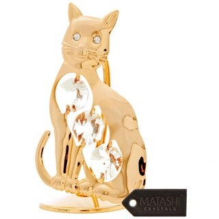 24k Goldplated Beautiful Kitty Cat Table Top Made with Genuine Matashi Crystals