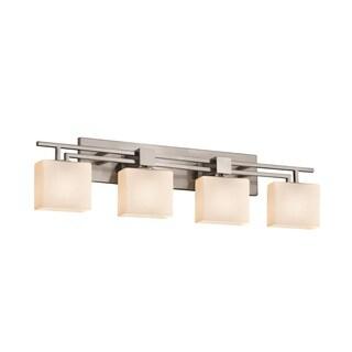 Justice Design Group Fusion Aero 4-light Brushed Nickel Bath Bar, Opal Rectangle Shade