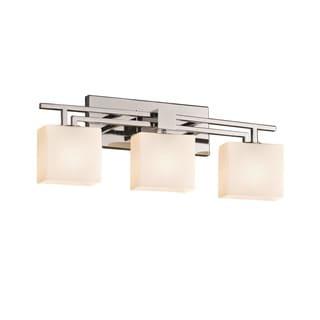 Justice Design Group Fusion Aero 3-light Chrome Bath Bar, Opal Shade
