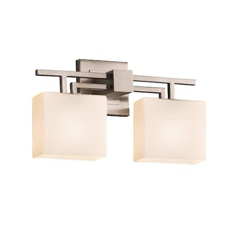 Justice Design Fusion Aero 2-light Brushed Nickel Bath Bar, Opal Rectangle Shade