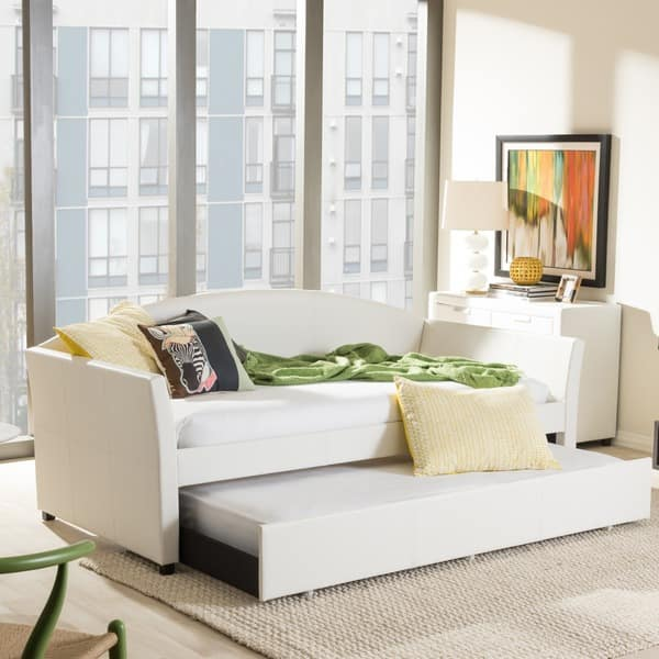 Enjoyable Shop Contemporary Faux Leather Daybed With Trundle By Baxton Ocoug Best Dining Table And Chair Ideas Images Ocougorg