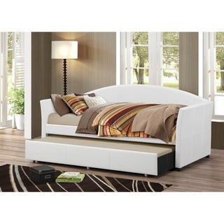 Baxton Studio Lysandros Faux Leather Arched Back Sofa Twin Daybed with Roll-Out Trundle Guest Bed