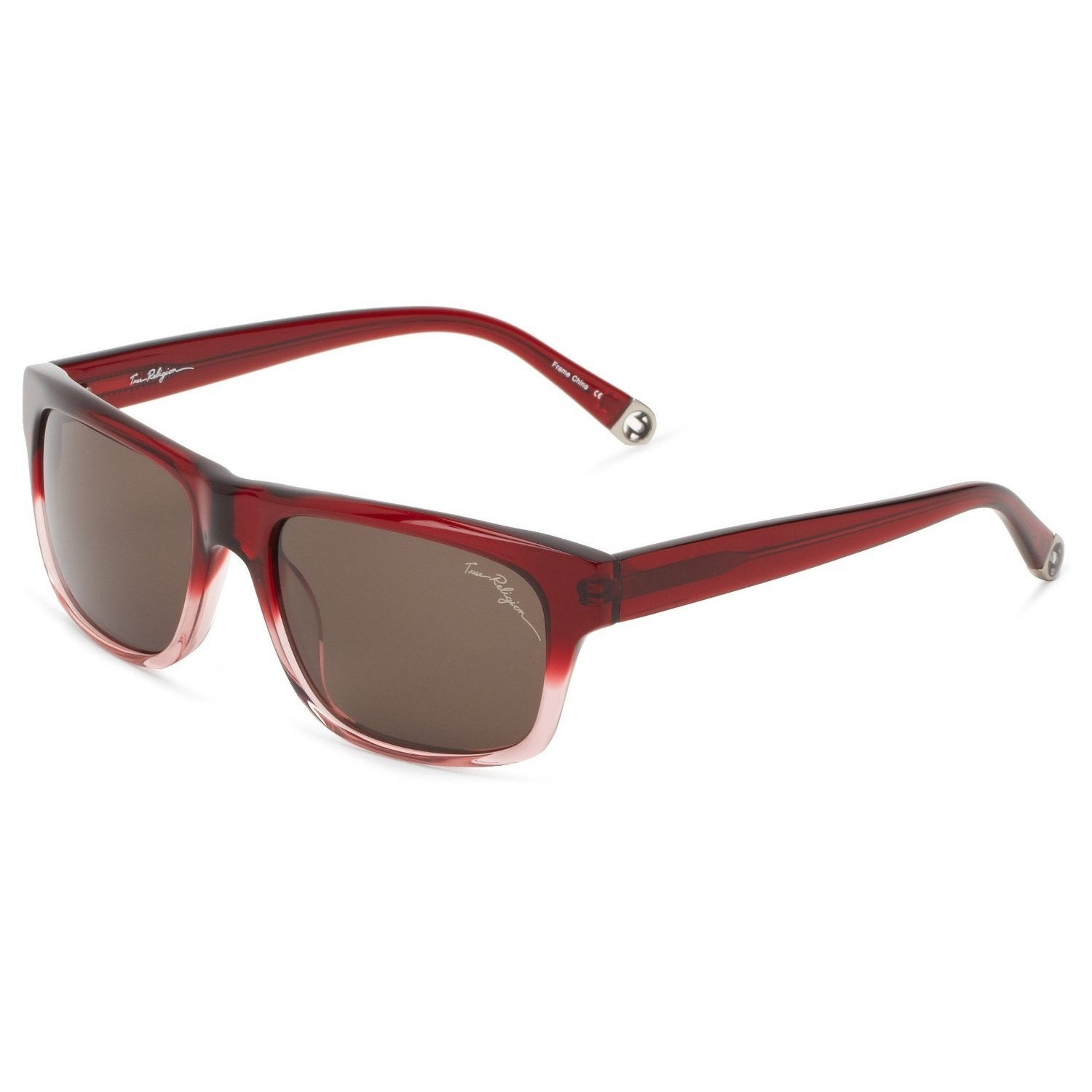 True Religion Jamie Rectangular Burgundy and Pink Sunglasses - M | eBay