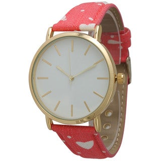 Olivia Pratt Women's Denim Hearts and Dots Watch