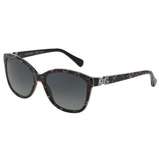 Dolce & Gabbana Women's DG4258 Black Plastic Square Polarized Sunglasses