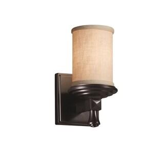 Justice Design Group Textile Deco 1-light Matte Black Wall Sconce, Cream Cylinder - Flat Rim Shade