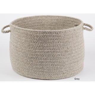 Rhody Rug Woolux Wool 12 x 18-inch Braided Basket (Option: Light Grey)