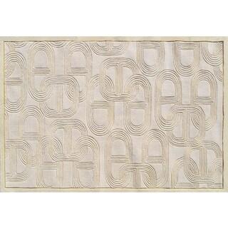 Hand-tufted Claudia Cream Wool Rug (5' x 8')