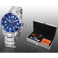 Stuhrling Original Men's Swiss Quartz Sport Aquadiver Watch with Steel Bracelet/ Rubber Strap Set