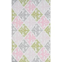 """Hand-hooked Pink Damask Polyester Rug (4'7 x 7'7) - 4'7"""" x 7'7"""""""
