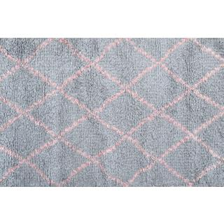 Hand-woven Diamond Pink/ Grey/ Pink Rug (2'8 x 4'8)