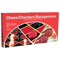 Pressman 1113-12 Chess/Checkers/Backgammon Double Sided Folding Game Board