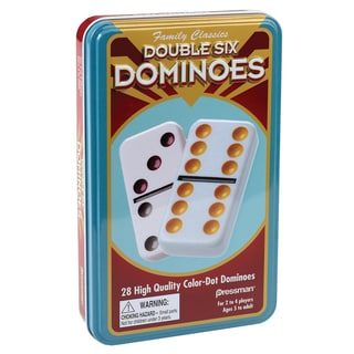 Pressman 3925-12 Double Six Color Dot Dominoes Game In Tin