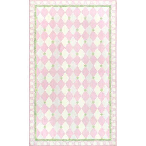 Hand-hooked Harlequin Pink Cotton Rug - 2'8 x 4'4