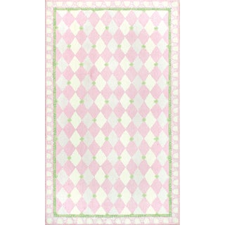 Hand-hooked Harlequin Pink Cotton Rug (2'8 x 4'8) - 2'8 x 4'4