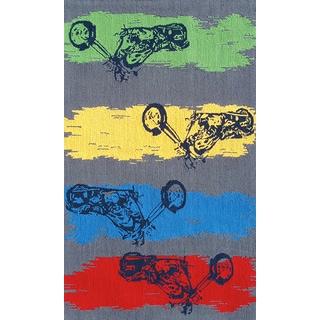 Hand-hooked Steps Girl Polypropylene Rug (2'8 x 4'8)