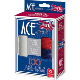 CartaMundi 1510 Ace Plastic Poker Chips 100-count