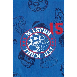 Hand-hooked Sports Master Blue/ White/ Red Rug - 2'8 x 4'4