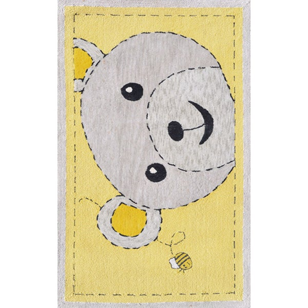 Hand-hooked Bee-z-bear Yellow/ Grey Rug - 28 x 44 (Bee-Z-Bear/Yellow/Gray Size 2.8X4.8)