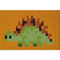 Hand-hooked Pixel Dino Green Polyester Area Rug - 2'8 x 4'4
