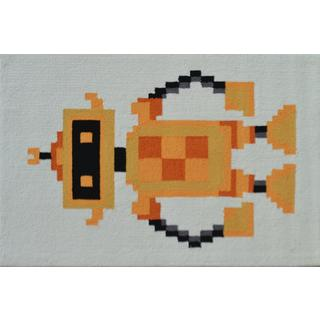Hand-hooked Pixel Robot White Polyester Area Rug (2'8 x 4'8)