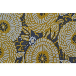 Hand-hooked Botanical Flora Grey/ Yellow Rug (2'8 x 4'8)
