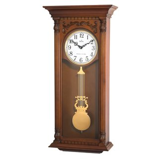 Bulova C4330 Solid Hardwood Case with a Walnut Finish Wall Clock with Tubular Sound Triple Chime