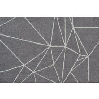 Hand-hooked Facet Grey Polyester Area Rug (2'8 x 4'8)