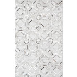 Pasargad Geometric Silver Cowhide Rug (2' x 3')