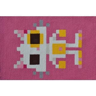 Hand-hooked Pixel Cat Pink Polyester Area Rug (2'8 x 4'8)