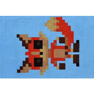Hand-hooked Pixel Fox White Polyester Area Rug (2'8 x 4'8)