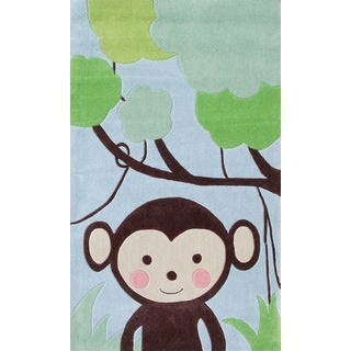 Hand-hooked Jungle Mania Blue/ Brown/ Green Rug (2'8' x 4'8)