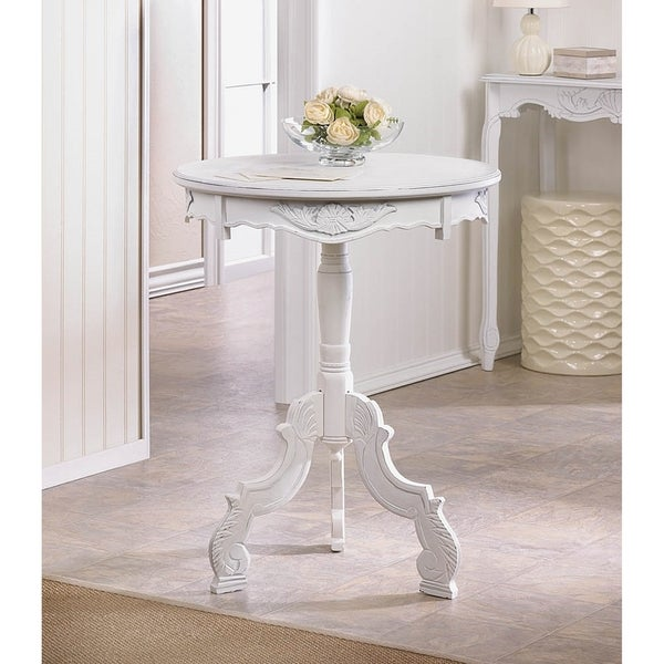 Antique White Round Accent Table