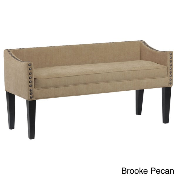 bench with arms. Whitney Long Upholstered Bench With Arms And Nailhead Trim