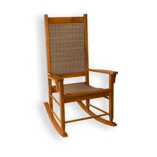 Wooden Rocking Chair with Wicker Weave - Oak Finish