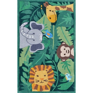 Hand-tufted Jungle Party Green/ Grey/ Brown Rug (2'8 x 4'8)