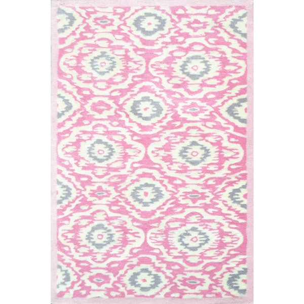 Hand-tufted Ikat-kidi Pink/ White/ Grey Rug (2'8 x 4'8 ...